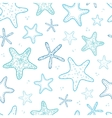Starfish blue line art seamless pattern background vector image vector image