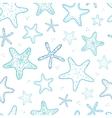 Starfish blue line art seamless pattern background
