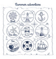 summer adventure map depicting multiple icons vector image vector image