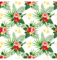 tropical flowers seamless pattern summer tropic vector image vector image