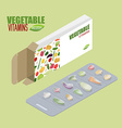 Vegetable pills in pack Vegetarian vitamins Diet vector image vector image
