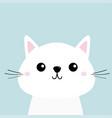 white cat kitten funny head baface moustaches vector image