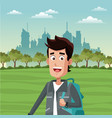 young tourist at park vector image vector image