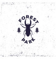 vintage beetle deer with forest retro badge or vector image