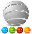 abstract striped globe in perspective 5 colors vector image vector image