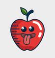 apple fresh fruit character handmade drawn vector image vector image