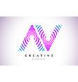 av lines warp logo design letter icon made vector image vector image