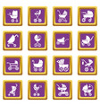baby carriage icons set purple square vector image vector image