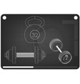 barbell and dumbbell on a black vector image vector image
