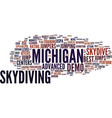 best michigan skydive centers text background vector image vector image