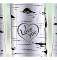 Birch tree card with heart and carved text i love vector image vector image