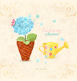 blue hydrangea planted in ethnic flowerpot with a vector image