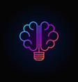 brain light bulb colorful icon vector image
