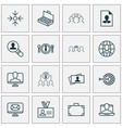 business icons set with business aim vector image
