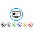 cardio monitoring rounded icon vector image vector image