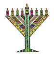 colorful hanukkah in the style of doodle vector image vector image