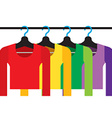 Colorful Long Sleeves Shirts With Hangers vector image vector image