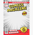 comic book cover comics books title page funny vector image