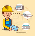 delivery man holding envelope mail van plane and vector image vector image