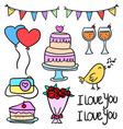 doodle of element wedding cute design vector image