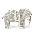 elephant origami paper toy vector image vector image