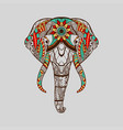 ethnic patterned head elephant red blue yellow vector image