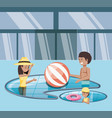 family vacations in pool icon vector image