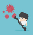 fight virus cure corona virus young businessman vector image vector image