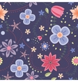 Flowers pattern vintage on dark blue vector image vector image