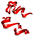 Glossy red ribbons vector image vector image