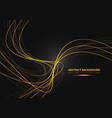 gold line curve with simple text on black vector image vector image