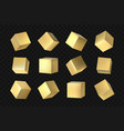 golden 3d cubes geometric yellow packaging vector image
