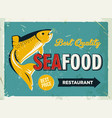 grunge retro metal sign with seafood logo vintage vector image vector image