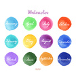 Handwritten months names on watercolor background vector image