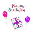 happy birthday text present box and balloons vector image vector image