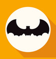 icon bat on white circle with a long shadow vector image vector image