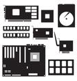 internal desktop computer components black symbols vector image