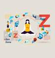 letter z with zen zone for stressed girl vector image vector image