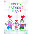 lgbt family happy father day children drawing vector image vector image