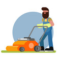 man works with a lawn mower vector image