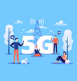 mobile 5g connection people with smartphones use vector image