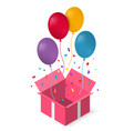 open gift box with as balloon eps vector image