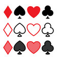 poker icon set heart spade club and diamond vector image