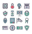 protection and security pictogram set vector image vector image