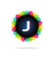 Retro bright colors Logotype Letter J vector image vector image