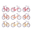 set of female bicycles with basket in red orange vector image