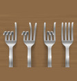 set of forks bent in the form of gestures vector image vector image