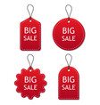set red sale tags and labels isolated on white vector image