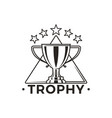 trophy cup with stars above monochrome emblem vector image vector image