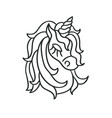 unicorn head silhouette sketch icon vector image